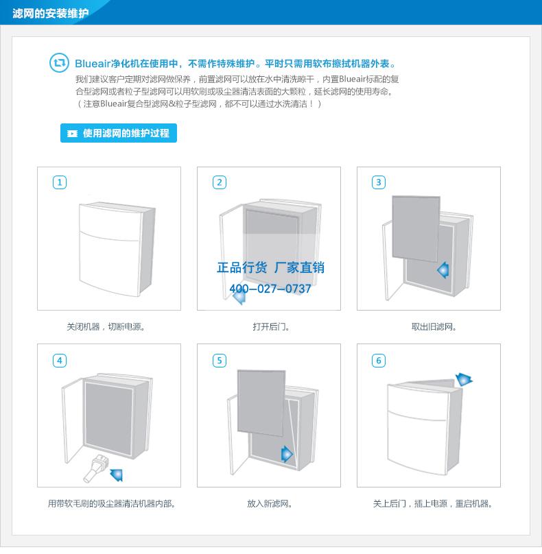 Blueair空气净化机滤网更换图示