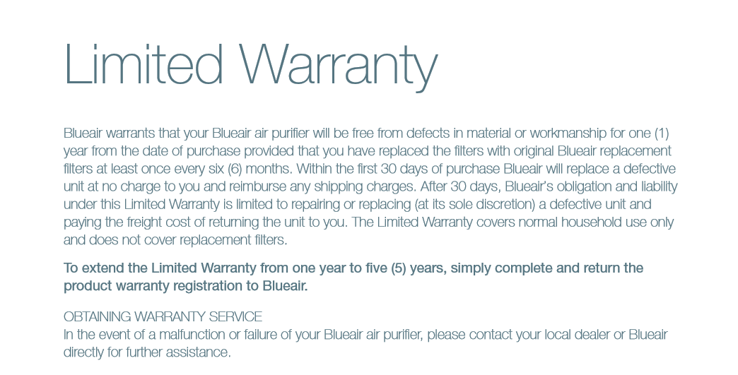 BlueAir  purifier Limited warranty