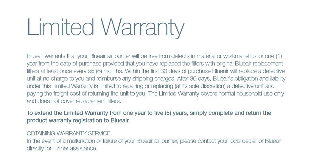 BlueAir  purifier Limited warranty